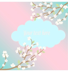 white sakura blossom card vector image vector image