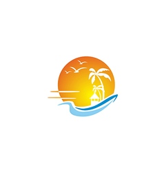 beach ocean sunset travel tropic hawai logo vector image