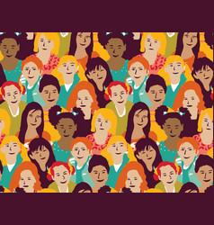 girls group and crowd seamless pattern vector image
