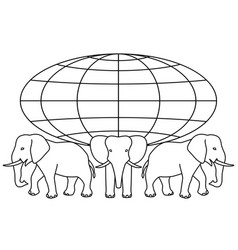 globe on elephants vector image vector image