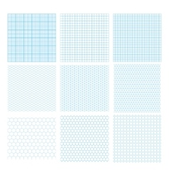 Nine cyan geometric grids seamless patterns vector image vector image