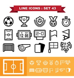Soccer football Line icons set 43 vector image