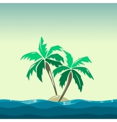 Tropical island and palm trees vector image vector image