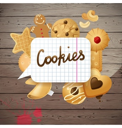 wooden background with cookies vector image vector image