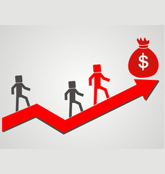 businessman succeeds to the top of the money vector image