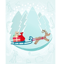 Reindeer pulling a sleigh with Christmas gifts vector image