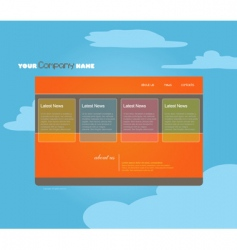 website template with clouds vector image