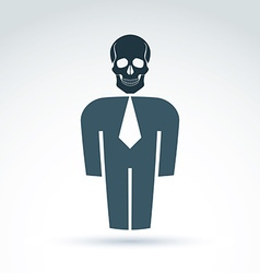 White collar office worker man icon with skull vector image