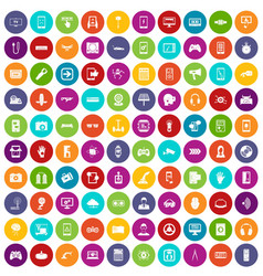 100 gadget icons set color vector