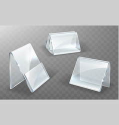 Acrylic holder glass or plastic display stand vector