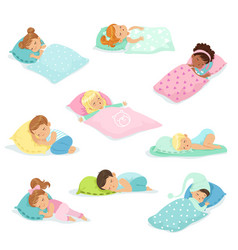 Adorable little boys and girls sleeping sweetly in vector