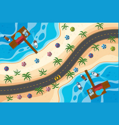 aerial view of road along the beach vector image