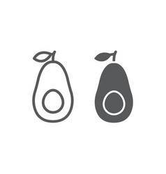 Avocado line and glyph icon fruit and vitamin vector