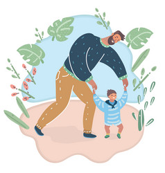 baby taking first steps with fathers help vector image