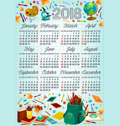 back to school 2018 year calendar template design vector image