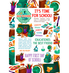 back to school autumn education poster vector image