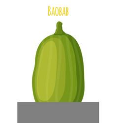 Baobab detox fruit cartoon flat style vector