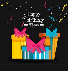 birthday set of gift box vector image