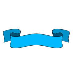 blue ribbon banner hand drawn doodle vector image