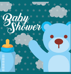 blue toy bear and feeding bottle baby shower card vector image