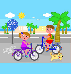 boy and girl on bike vector image