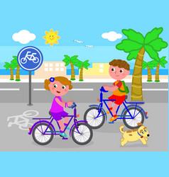 Boy and girl on bike vector