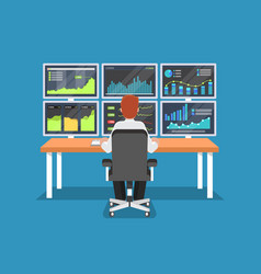 Businessman or stock market trader working at desk vector