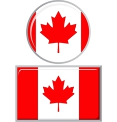 Canadian round and square icon flag vector
