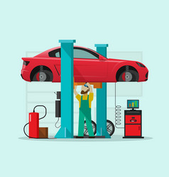 car repair station mechanic vector image