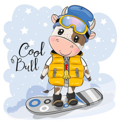 cartoon bull on a snowboard on a blue background vector image