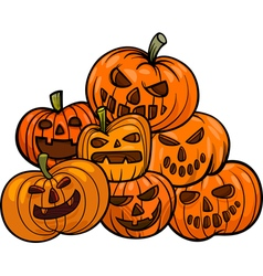 Cartoon halloween pumpkins vector