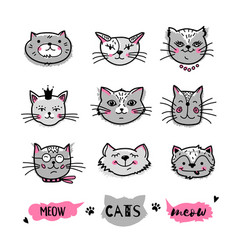 cats faces hand drawn doodle icons vector image