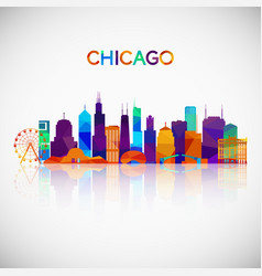 Chicago skyline silhouette in colorful geometric vector