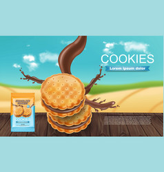Chocolate cream cookies realistic product vector