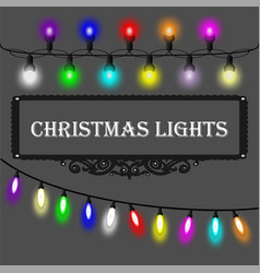 Christmas lights decorations set on grey vector