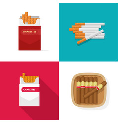 Cigaret pack carton box with cigarettes and luxury vector