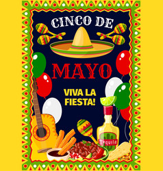Cinco de mayo mexican celebration poster vector