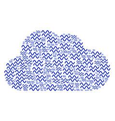 Cloud figure of sinusoid waves icons vector