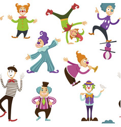 Clown and mime entertaining people seamless vector