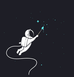 Cute astronaut drawing a stars vector