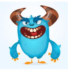 Cute furry blue monster bigfoot vector