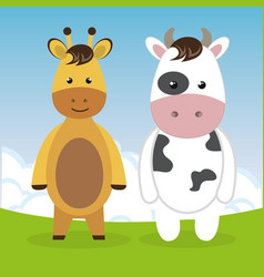 cute giraffe and cow in the field landscape vector image