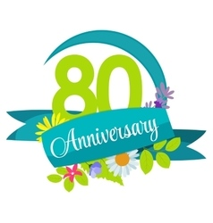 Cute nature flower template 80 years anniversary vector