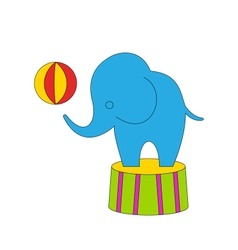 Dexterous Circus Cartoon Elephant on Podium with vector image