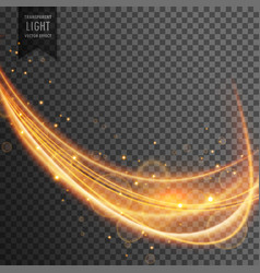 Dynamic gold wave with sparkles on transparent vector
