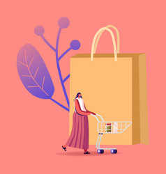 Female customer character stand in grocery or vector