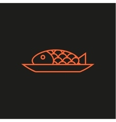 Fish on a plate line logo modern flat vector