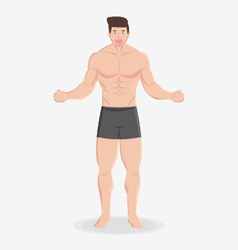 fitness muscular healthy man stand and smile vector image