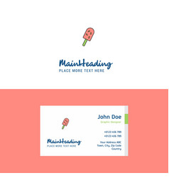 flat ice cream logo and visiting card template vector image