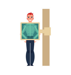 flat man smiling during xray scan prodecure vector image